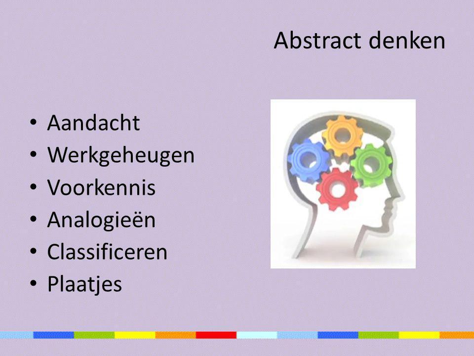 Abstract denken Aandacht Werkgeheugen Voorkennis Analogieën