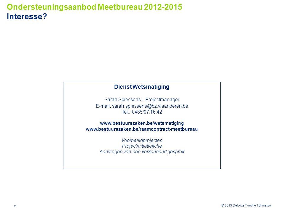 Ondersteuningsaanbod Meetbureau 2012-2015 Interesse