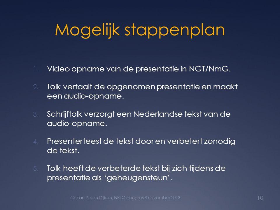Mogelijk stappenplan Video opname van de presentatie in NGT/NmG.