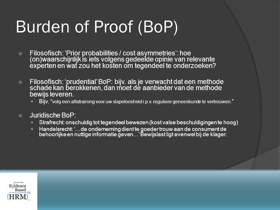 Burden of Proof (BoP)