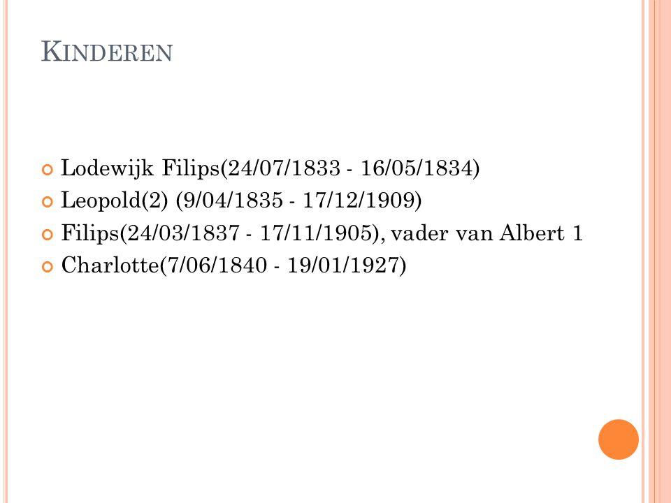 Kinderen Lodewijk Filips(24/07/1833 - 16/05/1834)