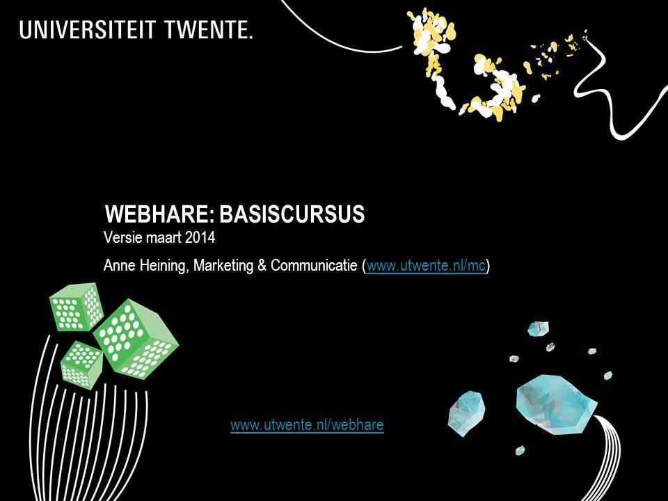 WEBHARE: BASISCURSUS Versie maart 2014