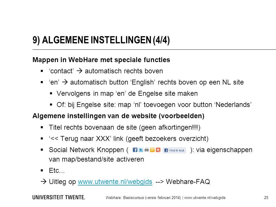 9) ALGEMENE INSTELLINGEN (4/4)
