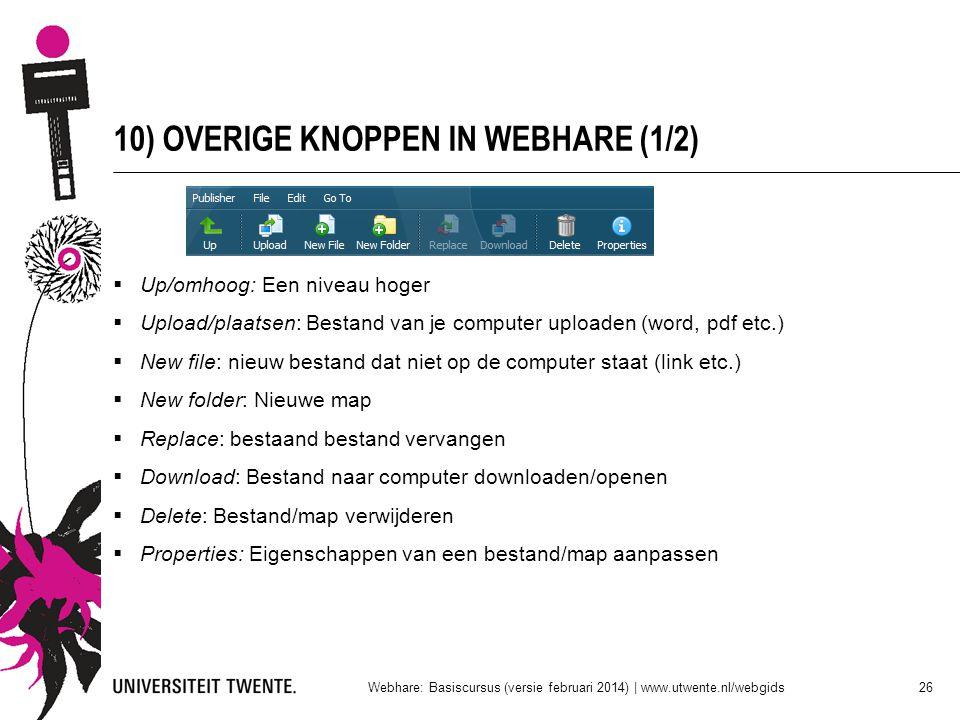 10) OVERIGE KNOPPEN IN WEBHARE (1/2)