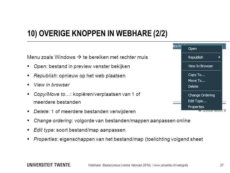 10) OVERIGE KNOPPEN IN WEBHARE (2/2)