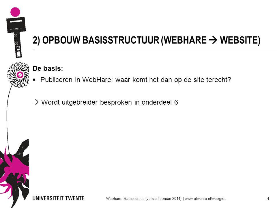2) OPBOUW BASISSTRUCTUUR (WEBHARE  WEBSITE)