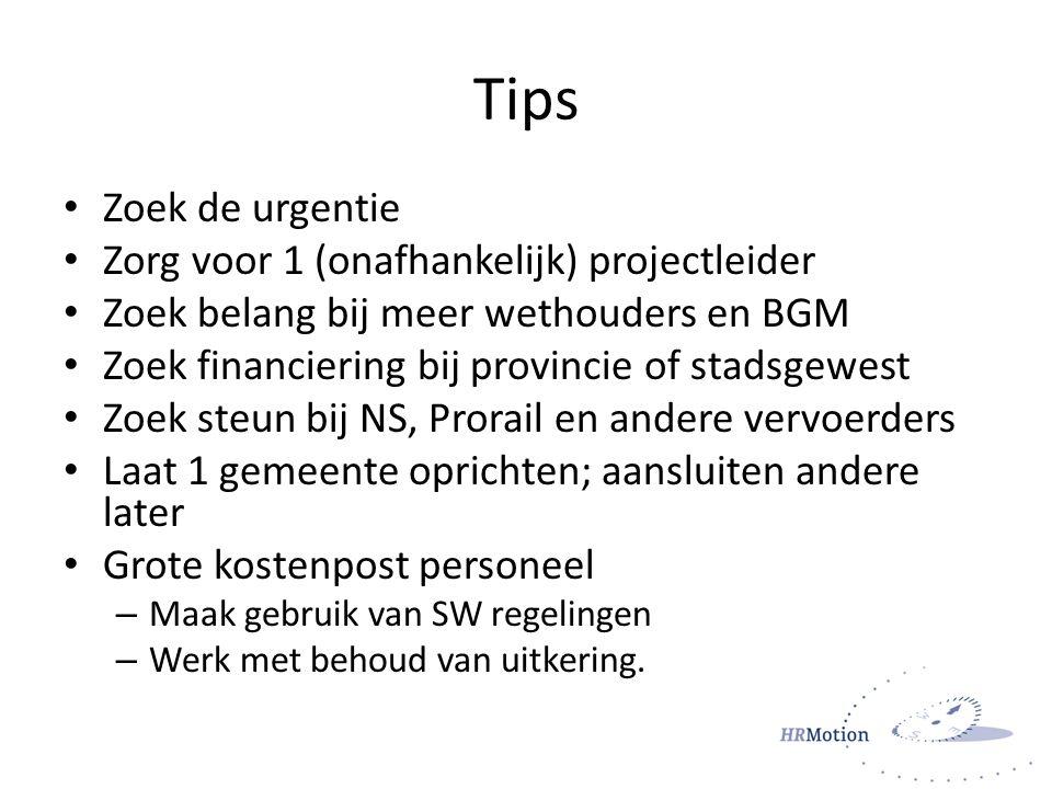 Tips Zoek de urgentie Zorg voor 1 (onafhankelijk) projectleider