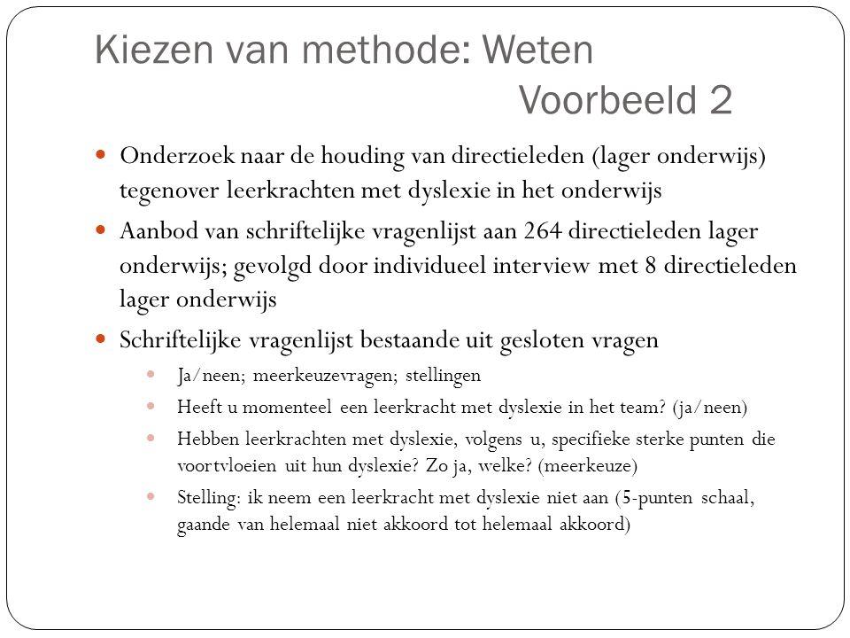 Kiezen van methode: Weten Voorbeeld 2
