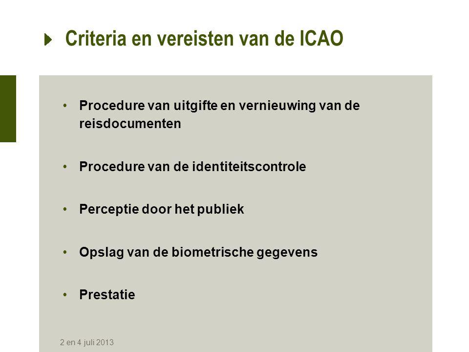 Criteria en vereisten van de ICAO