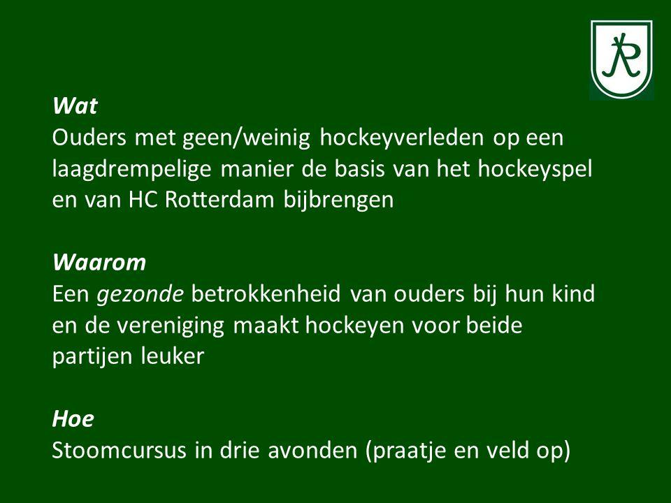 Wat Ouders met geen/weinig hockeyverleden op een laagdrempelige manier de basis van het hockeyspel en van HC Rotterdam bijbrengen Waarom Een gezonde betrokkenheid van ouders bij hun kind en de vereniging maakt hockeyen voor beide partijen leuker Hoe Stoomcursus in drie avonden (praatje en veld op)
