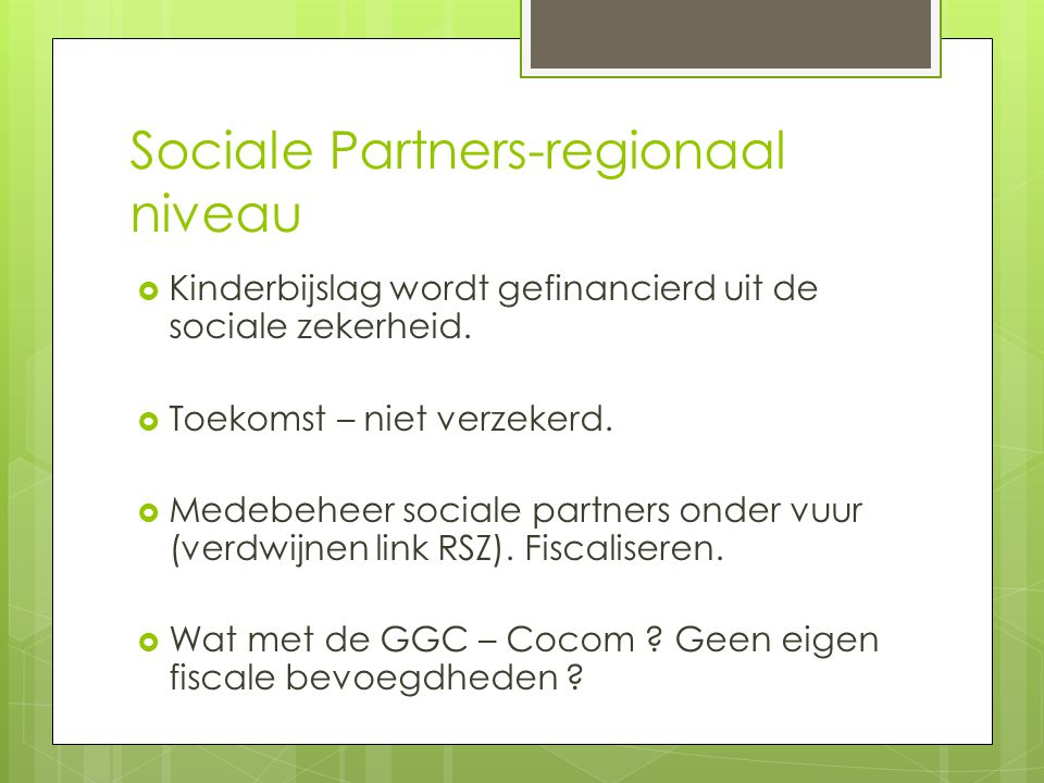 Sociale Partners-regionaal niveau