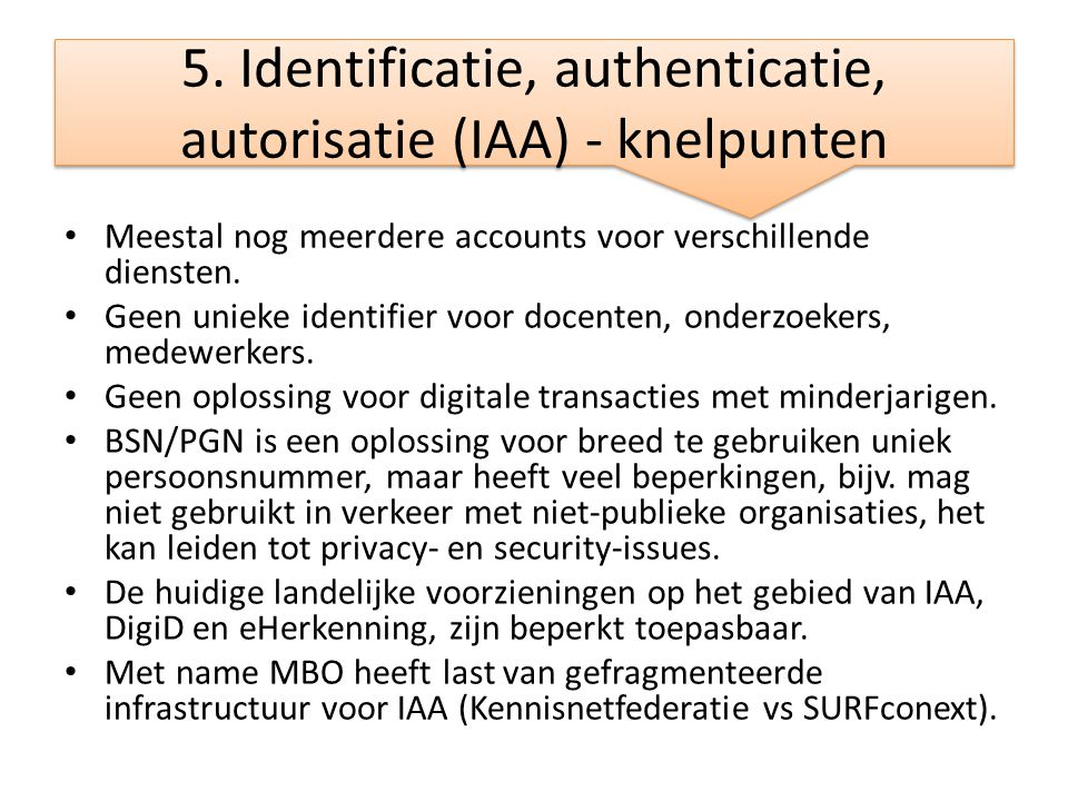 5. Identificatie, authenticatie, autorisatie (IAA) - knelpunten