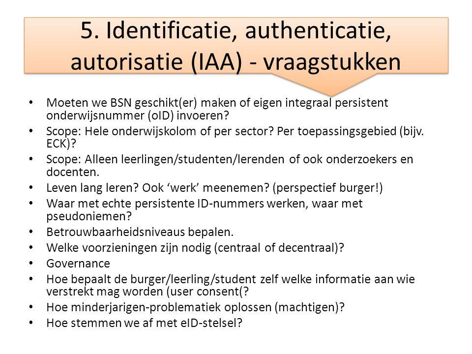 5. Identificatie, authenticatie, autorisatie (IAA) - vraagstukken
