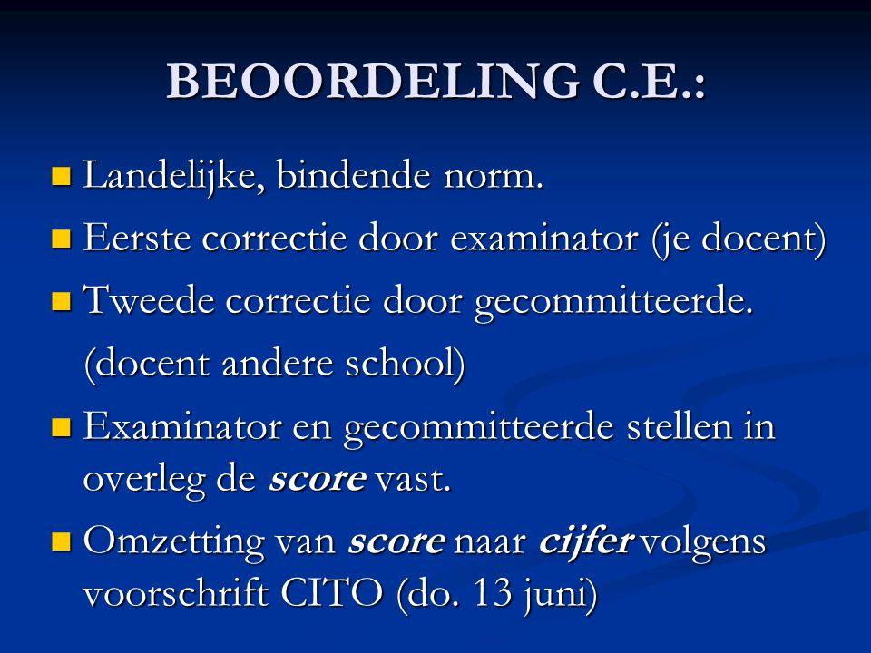 BEOORDELING C.E.: Landelijke, bindende norm.