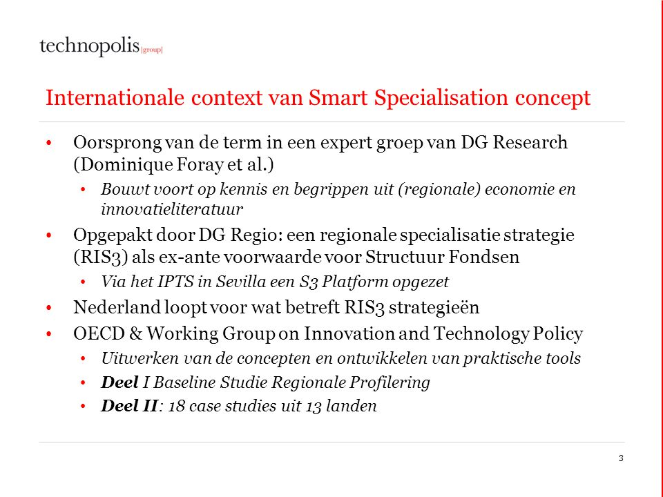 Internationale context van Smart Specialisation concept
