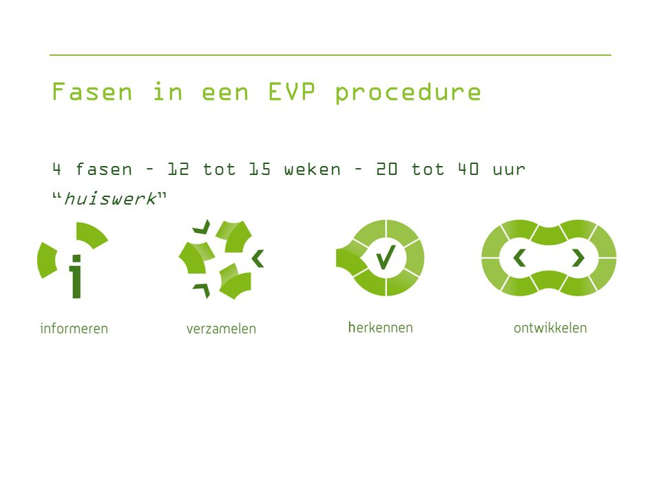 Fasen in een EVP procedure