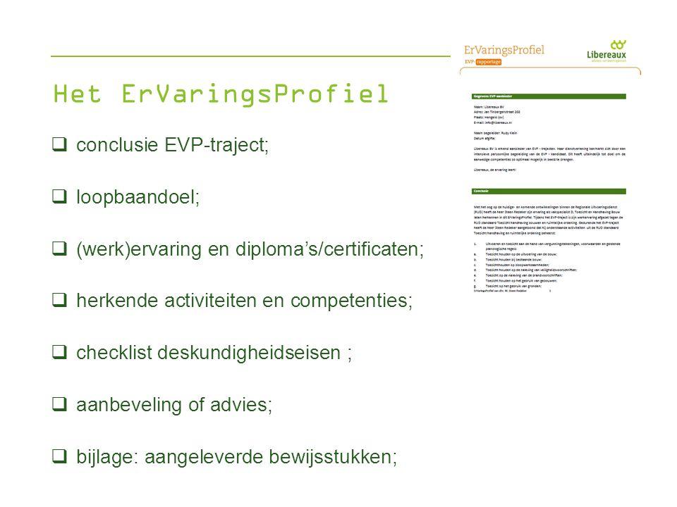 Het ErVaringsProfiel conclusie EVP-traject; loopbaandoel;