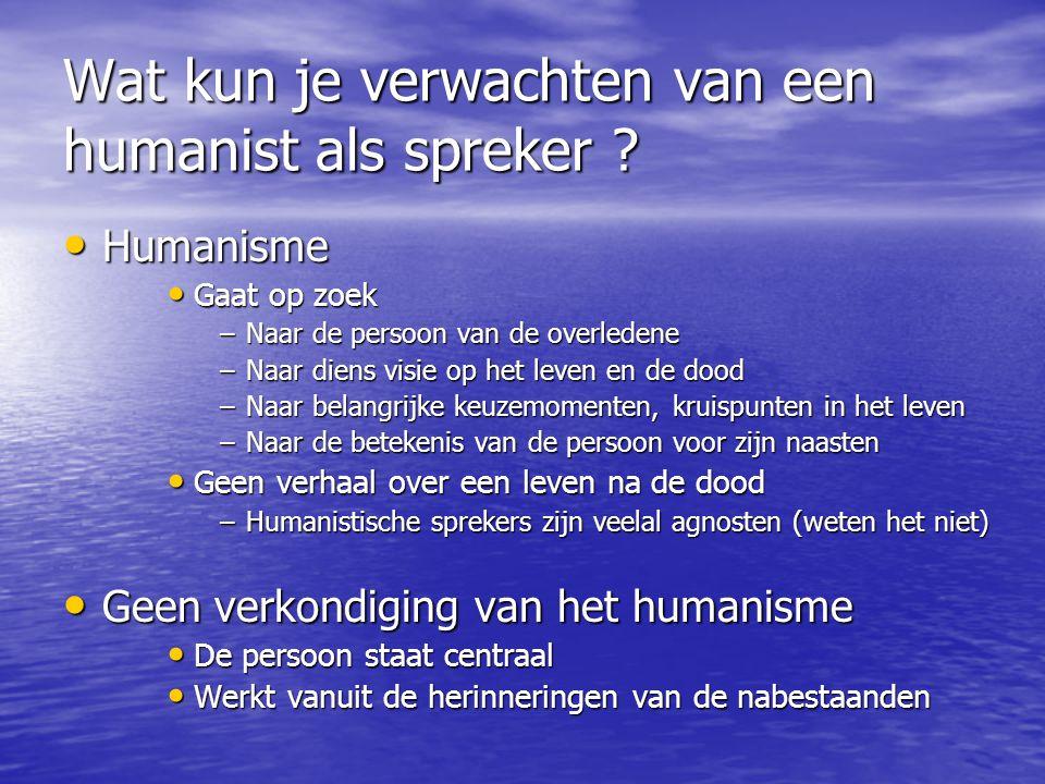 Wat kun je verwachten van een humanist als spreker