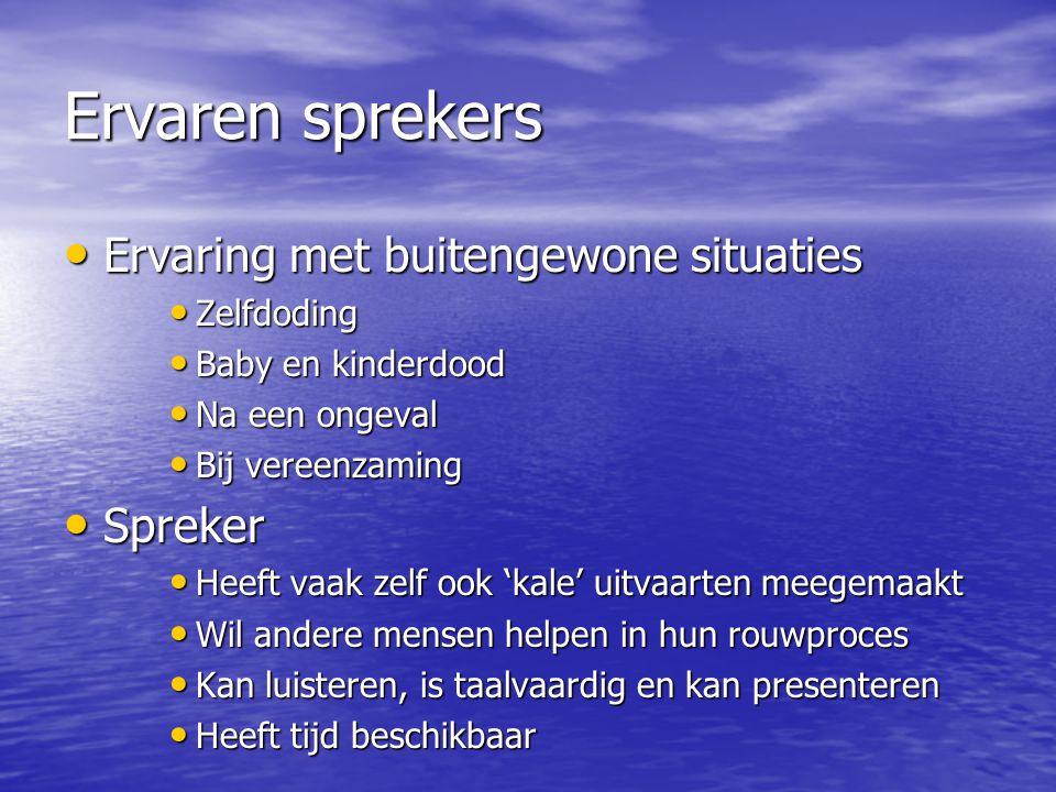 Ervaren sprekers Ervaring met buitengewone situaties Spreker
