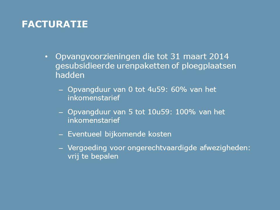 FACTURATIE Opvangvoorzieningen die tot 31 maart 2014 gesubsidieerde urenpaketten of ploegplaatsen hadden.