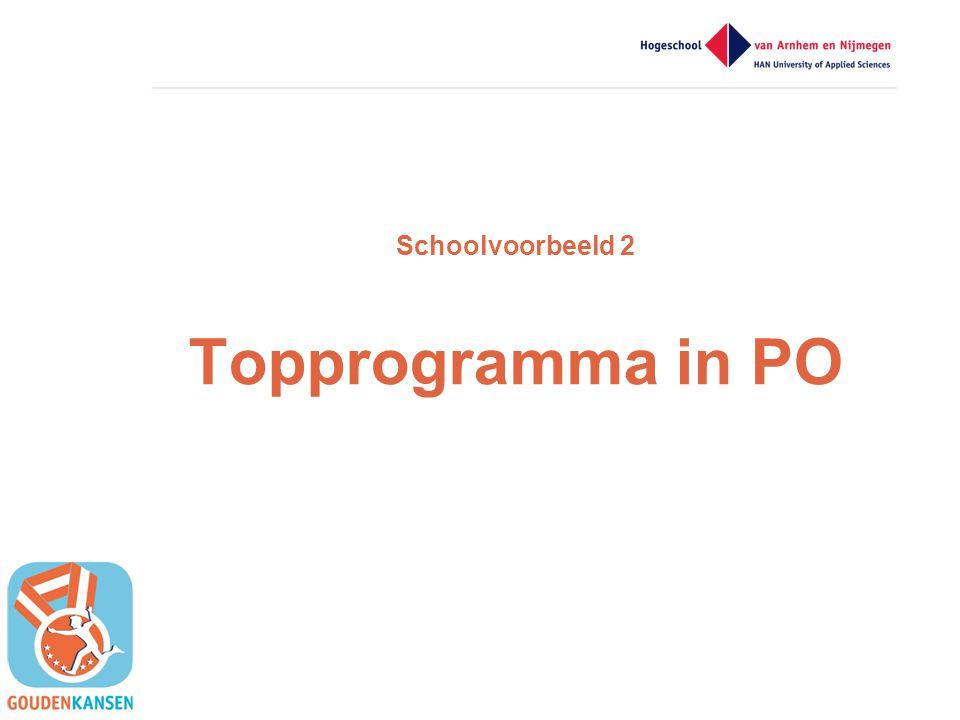 Schoolvoorbeeld 2 Topprogramma in PO