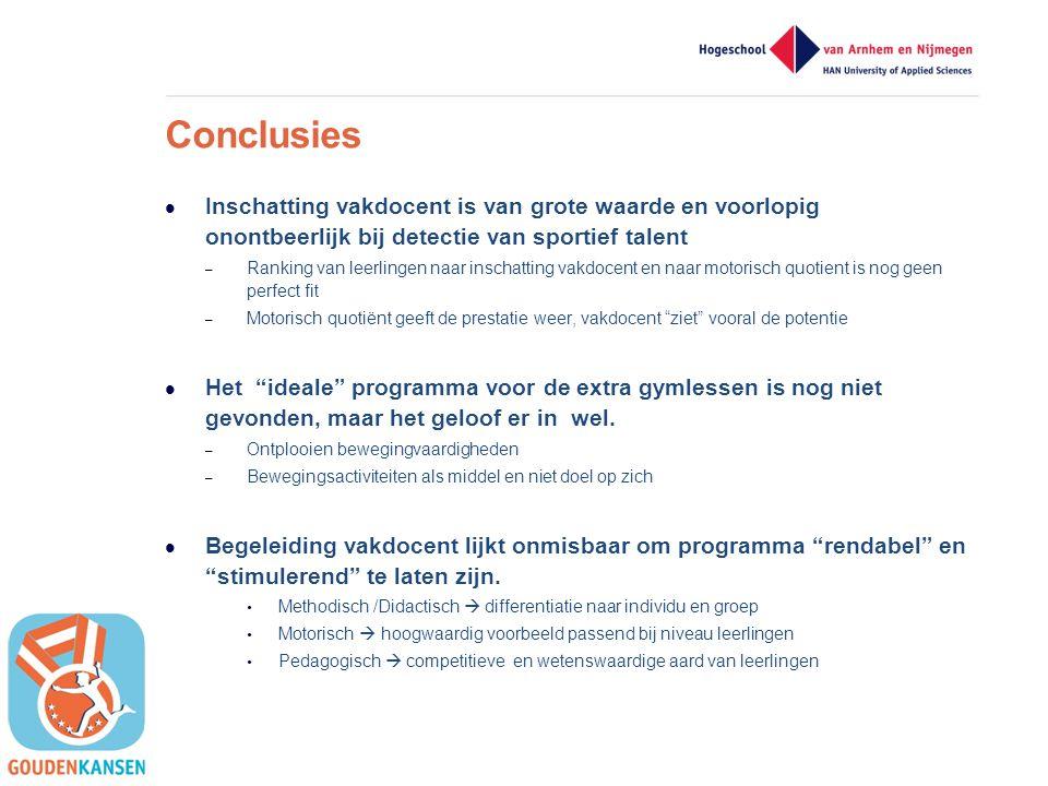 Conclusies Inschatting vakdocent is van grote waarde en voorlopig onontbeerlijk bij detectie van sportief talent.