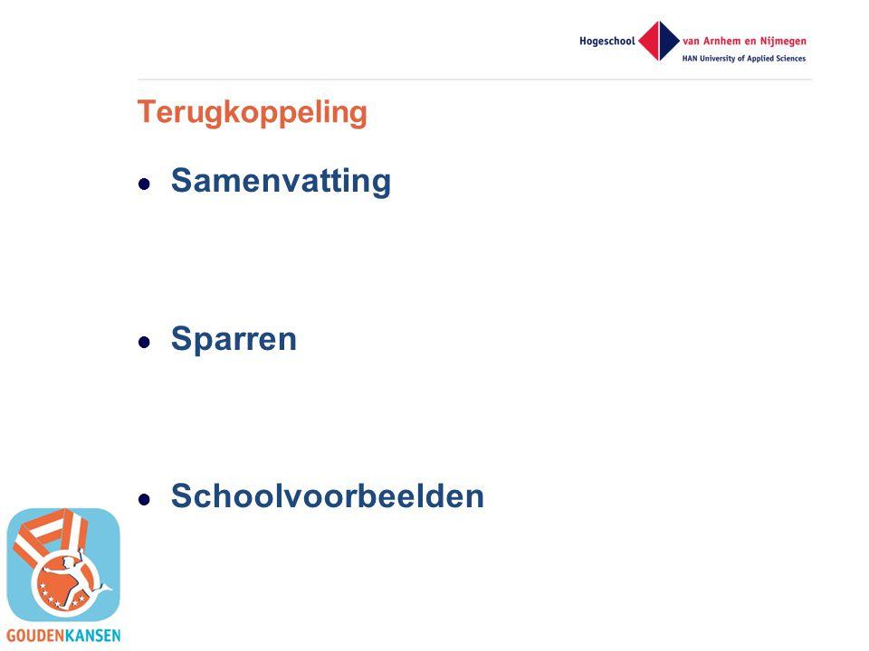 Samenvatting Sparren Schoolvoorbeelden Terugkoppeling