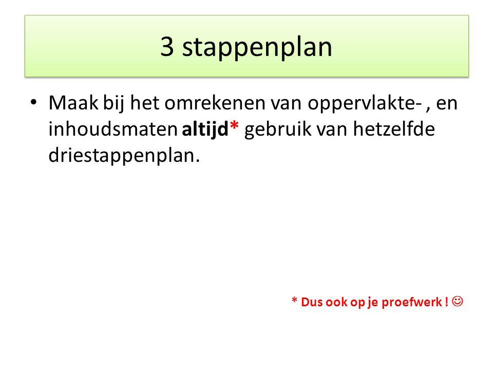 3 stappenplan Maak bij het omrekenen van oppervlakte- , en inhoudsmaten altijd* gebruik van hetzelfde driestappenplan.