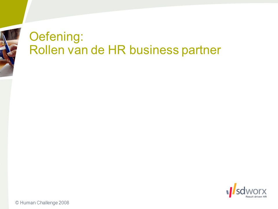 Oefening: Rollen van de HR business partner