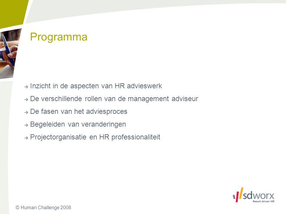 Programma Inzicht in de aspecten van HR advieswerk