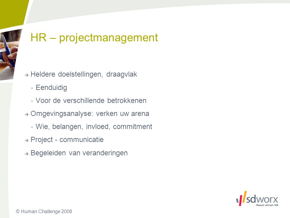 HR – projectmanagement