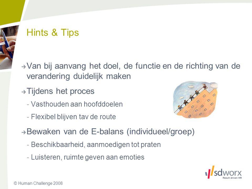 Hints & Tips Van bij aanvang het doel, de functie en de richting van de verandering duidelijk maken.