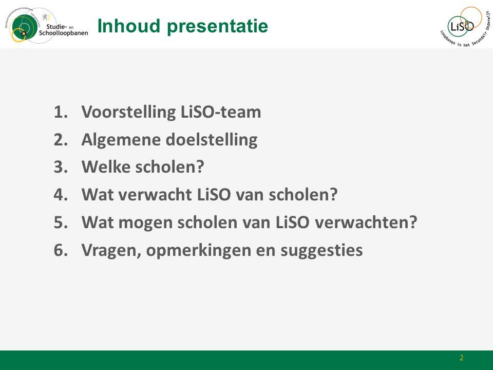 Inhoud presentatie Voorstelling LiSO-team. Algemene doelstelling. Welke scholen Wat verwacht LiSO van scholen