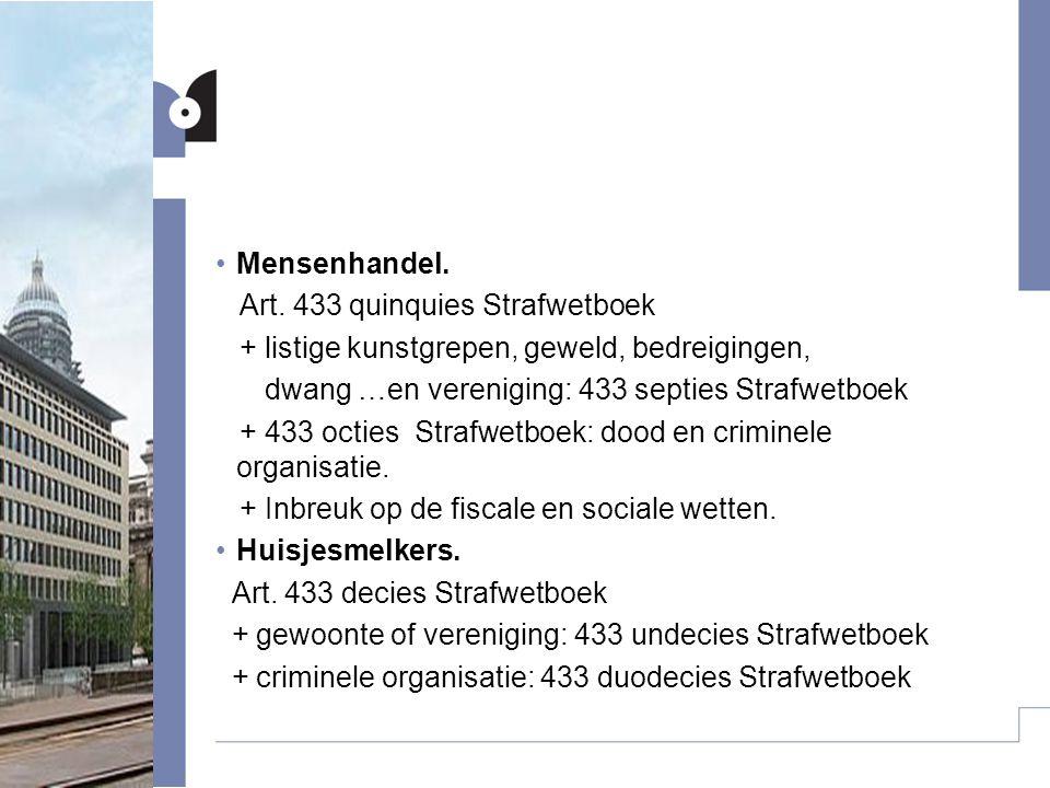 Mensenhandel. Art. 433 quinquies Strafwetboek. + listige kunstgrepen, geweld, bedreigingen, dwang …en vereniging: 433 septies Strafwetboek.