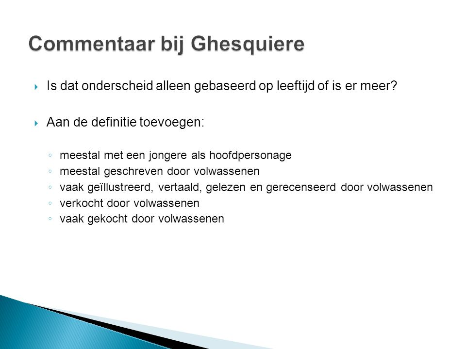 Commentaar bij Ghesquiere