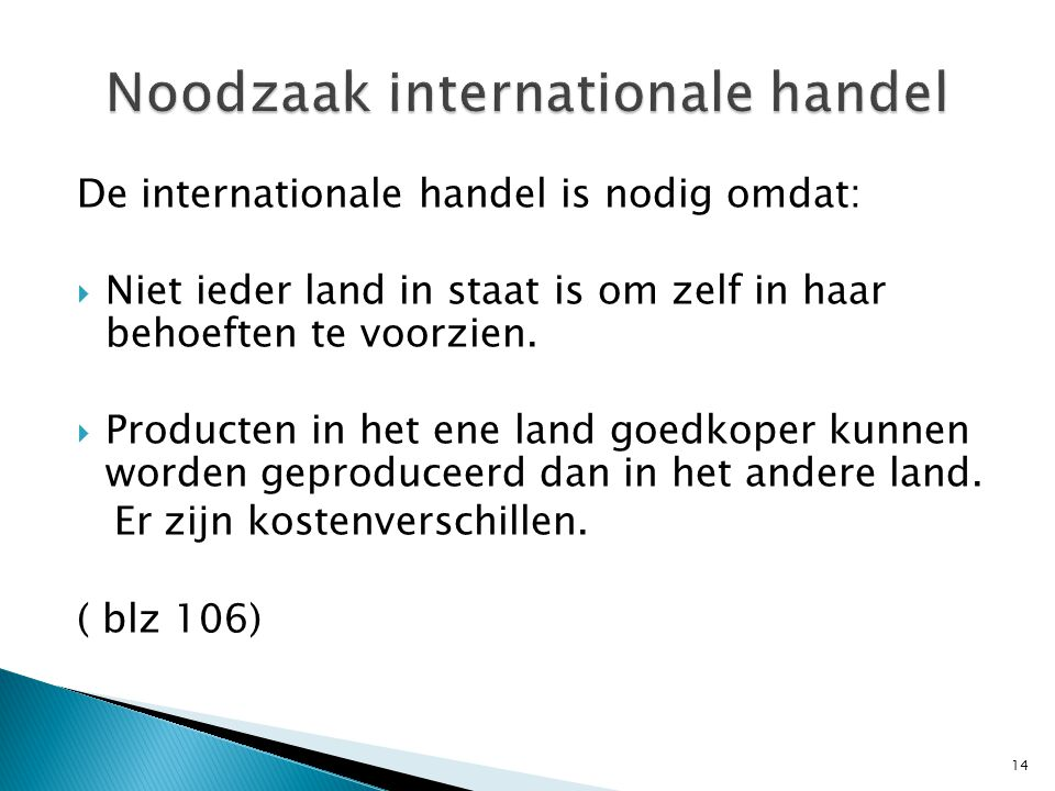Noodzaak internationale handel