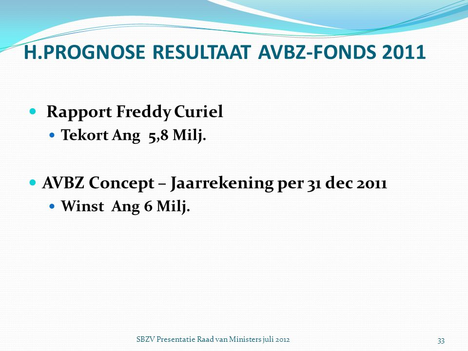 H.PROGNOSE RESULTAAT AVBZ-FONDS 2011