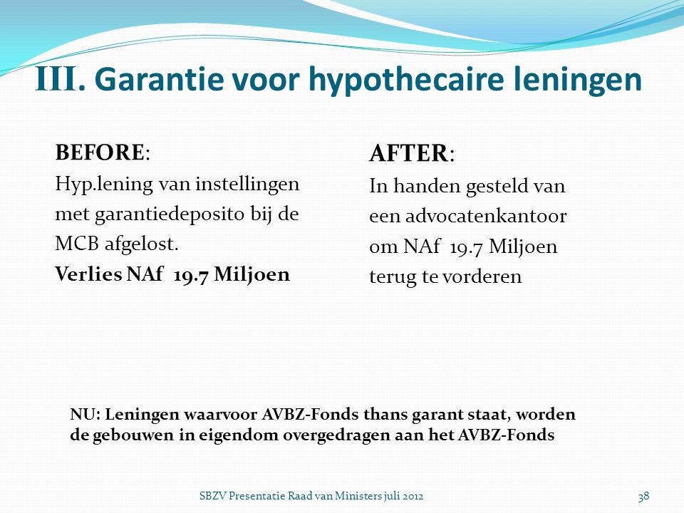 III. Garantie voor hypothecaire leningen