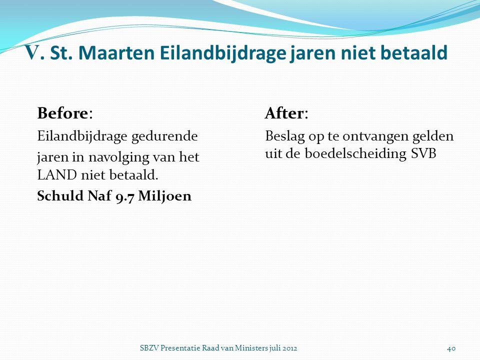 V. St. Maarten Eilandbijdrage jaren niet betaald