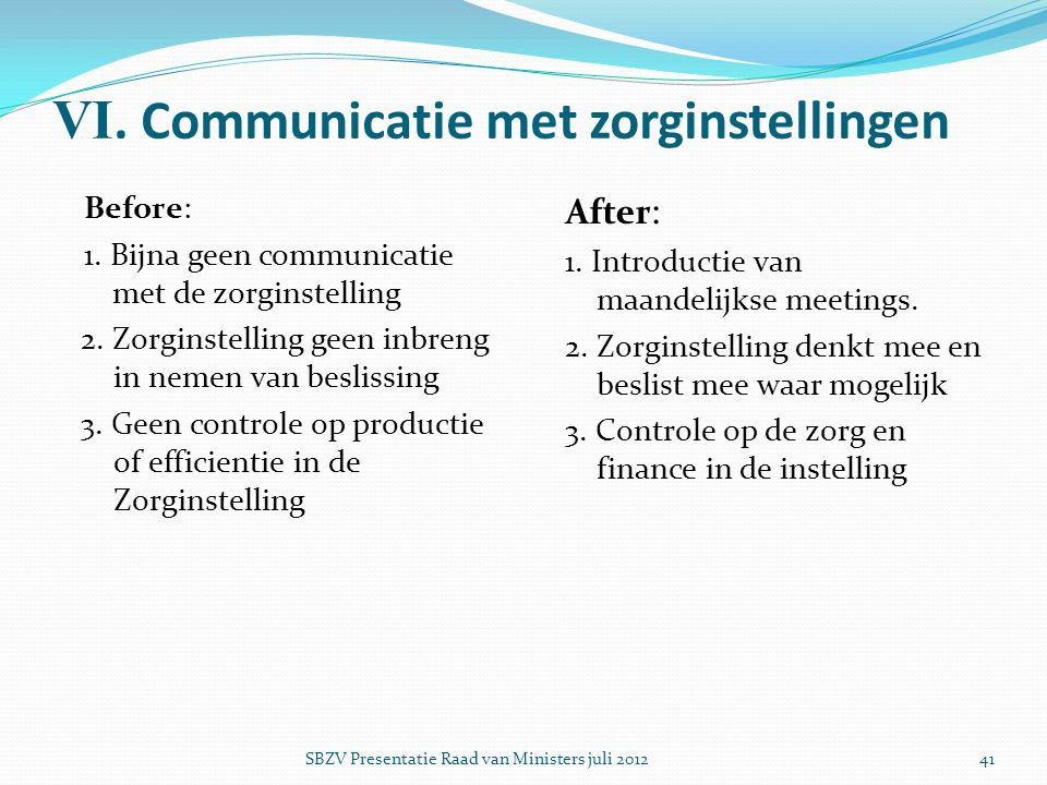 VI. Communicatie met zorginstellingen