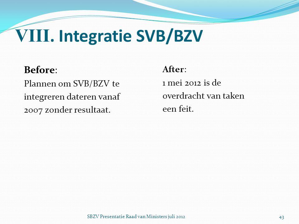 VIII. Integratie SVB/BZV