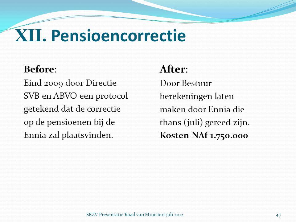 XII. Pensioencorrectie