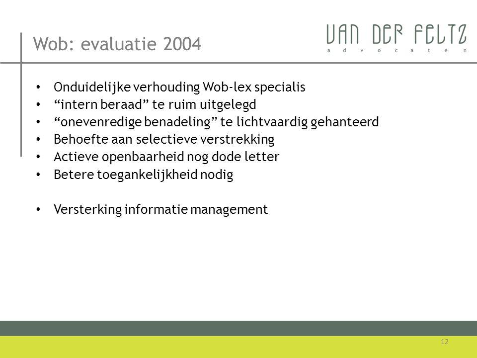 Wob: evaluatie 2004 Onduidelijke verhouding Wob-lex specialis