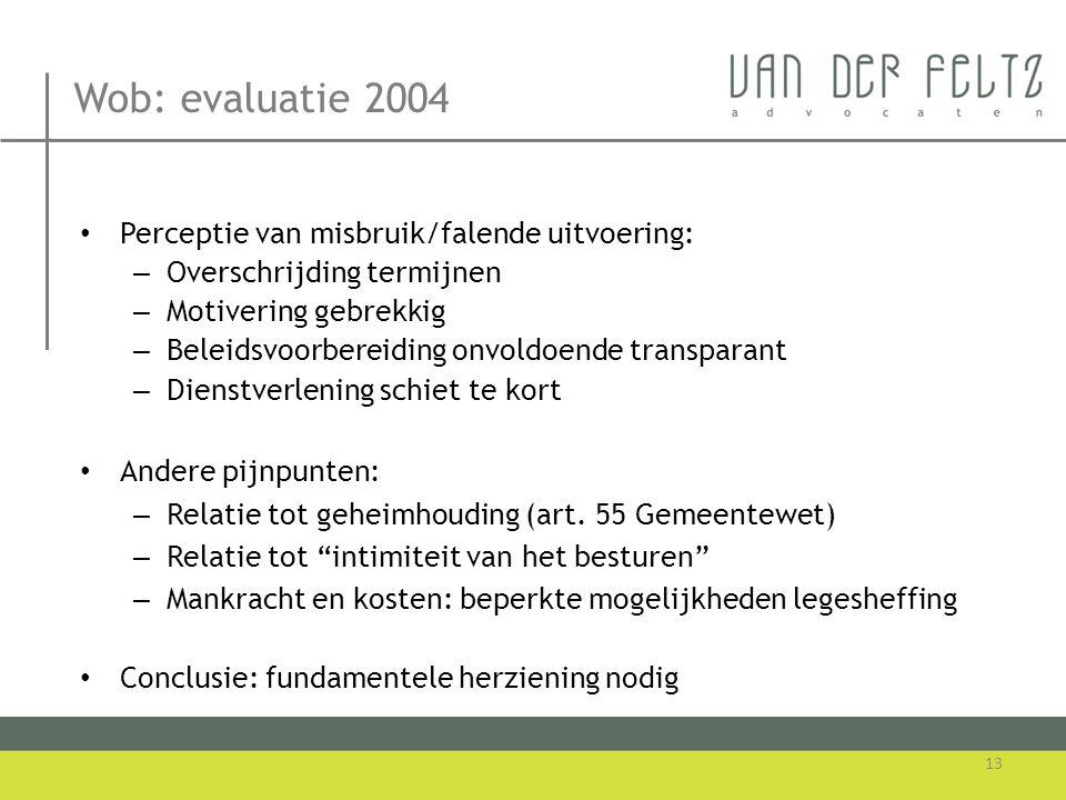 Wob: evaluatie 2004 Perceptie van misbruik/falende uitvoering: