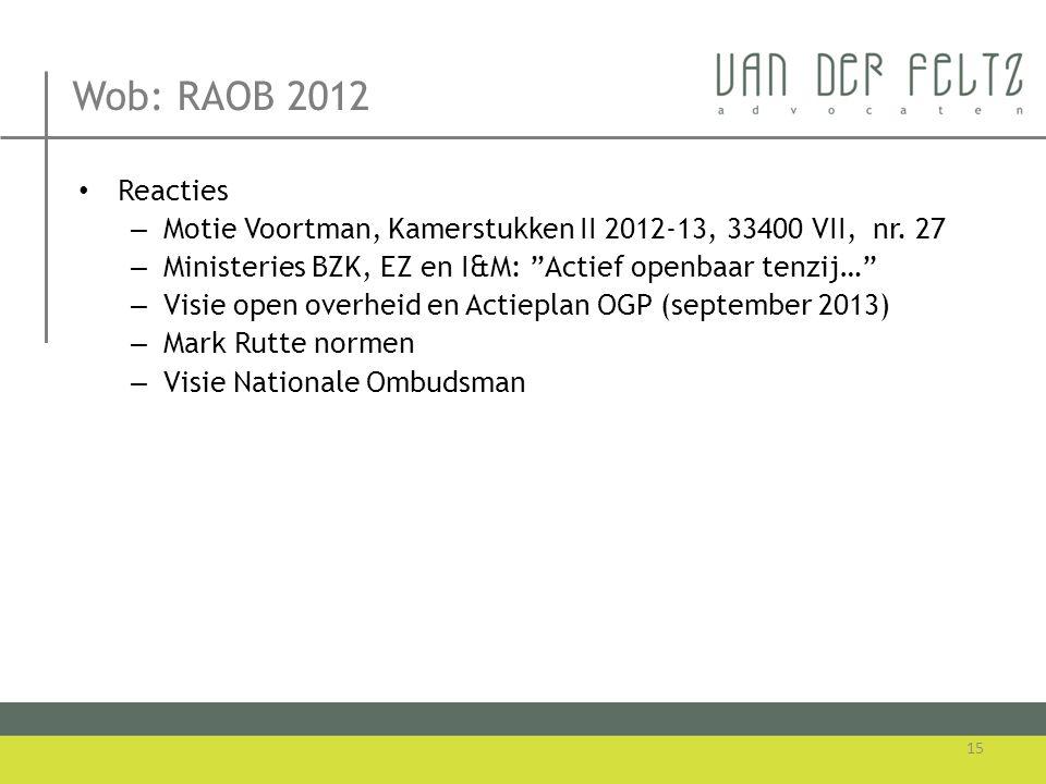 Wob: RAOB 2012 Reacties. Motie Voortman, Kamerstukken II 2012-13, 33400 VII, nr. 27. Ministeries BZK, EZ en I&M: Actief openbaar tenzij…