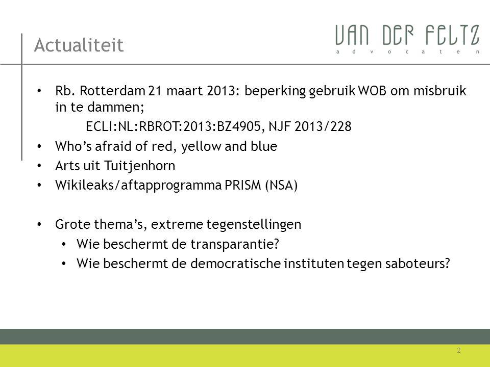 Actualiteit Rb. Rotterdam 21 maart 2013: beperking gebruik WOB om misbruik in te dammen; ECLI:NL:RBROT:2013:BZ4905, NJF 2013/228.