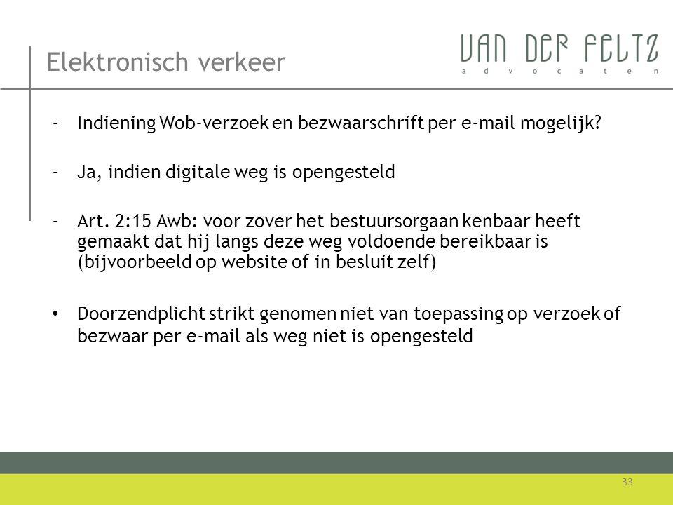 Elektronisch verkeer Indiening Wob-verzoek en bezwaarschrift per e-mail mogelijk Ja, indien digitale weg is opengesteld.