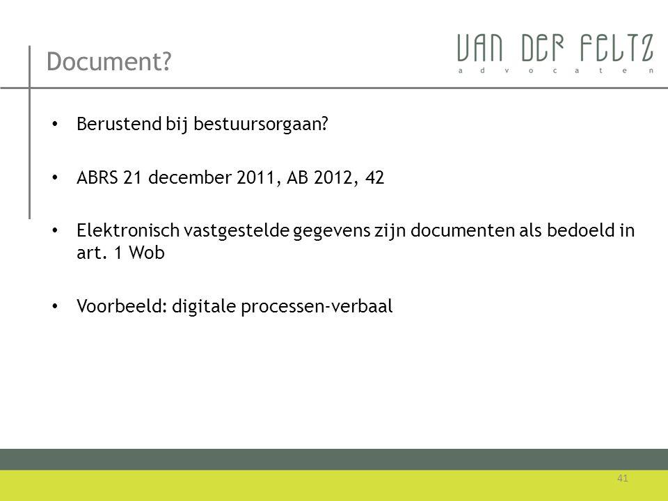 Document Berustend bij bestuursorgaan