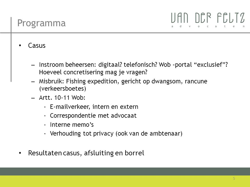 Programma Casus Resultaten casus, afsluiting en borrel