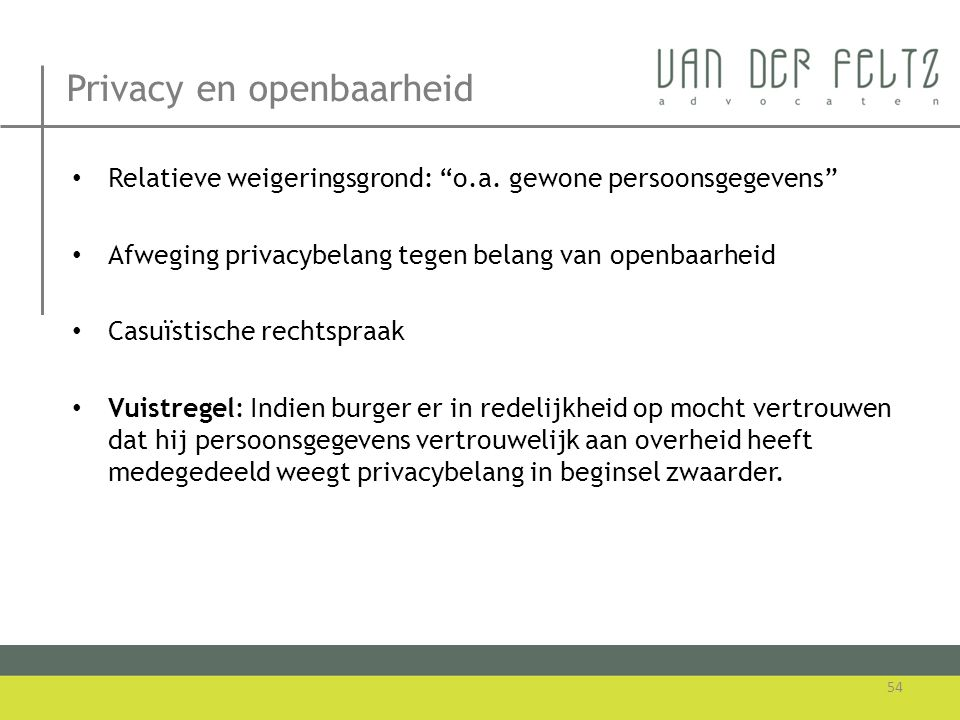 Privacy en openbaarheid